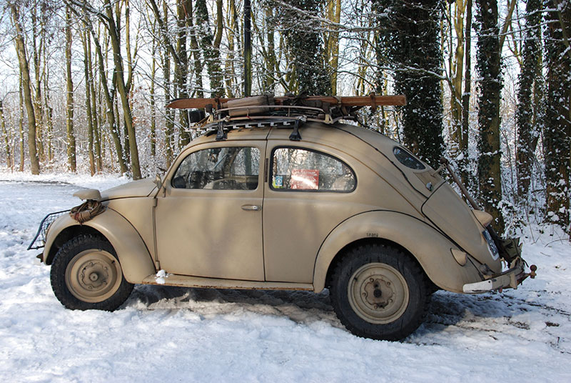 car snow vw beetle