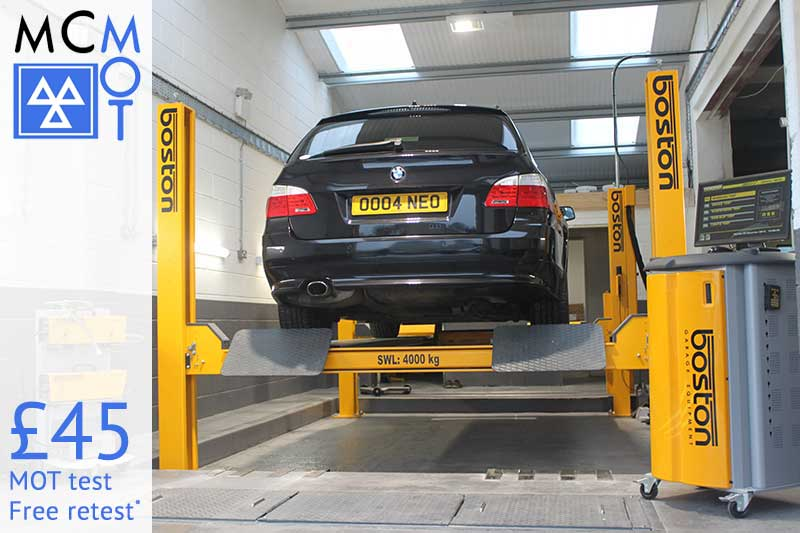 MCMOT £45 MOT test with free retest*